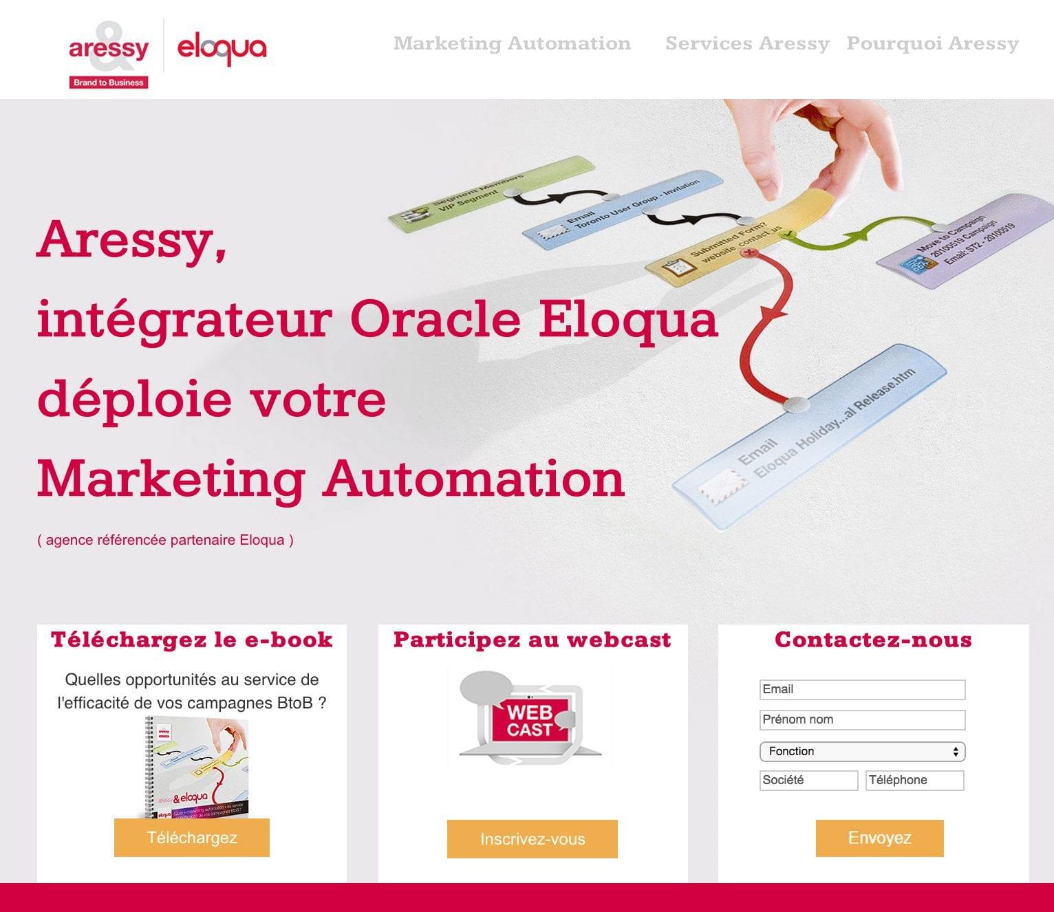 Découvrez le site dédié Aressy Eloqua