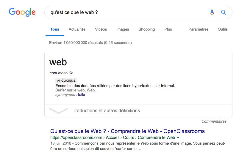 Définition du mot web dans une box