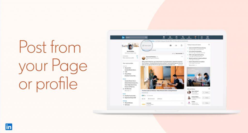 vous pouvez maintenant choisir de basculer pour publier en tant que membre ou page