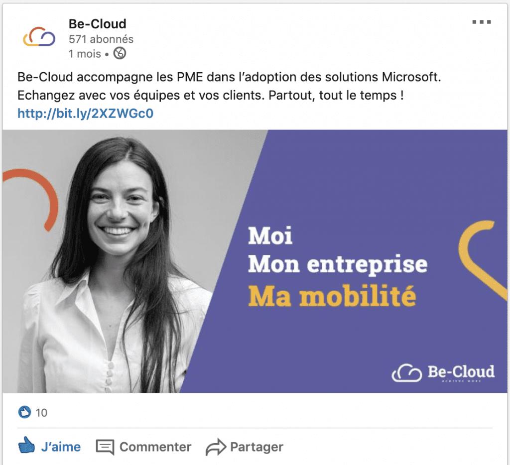 """Post Facebook de Be-Cloud, avec sa proposition d'accompagnement des entreprises et une de ses vignettes """"Moi, Mon entreprise, M..."""""""