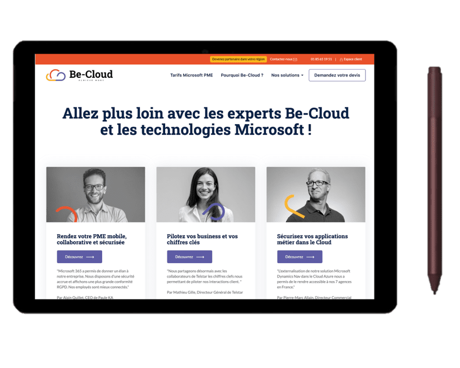 Vision du site Be-Cloud sur une tablette Surface