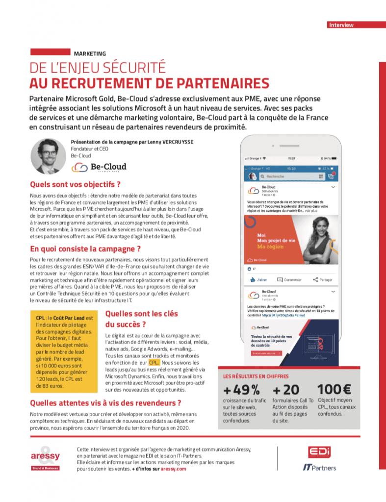 Page interview de Be-Cloud sur l'enjeu Sécurité au recrutement des partenaires